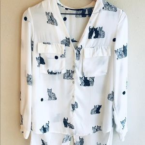 Zara Cat Blouse Black and White Cats With Yarn XS
